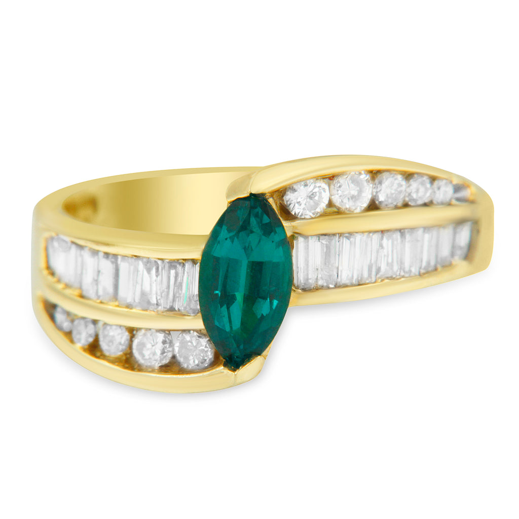 14K Yellow Gold 1ct TDW Emerald and Diamond Bypass Ring (H-I ,SI2-I1)