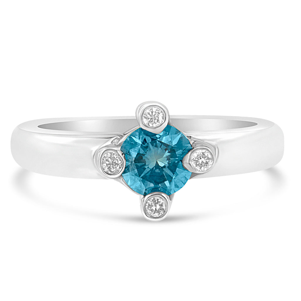14K White Gold 3/4ct TDW Blue Solitaire Diamond Ring (H-I ,SI1-SI2)