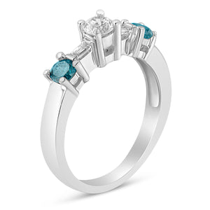 14k White Gold 3/4ct TDW Blue and White Diamond Three Stone Ring (H-I ,SI2-I1)