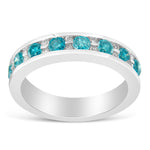 14K White Gold 1ct TDW Modern White and Blue Diamond Ring (H-I ,I1-I2)