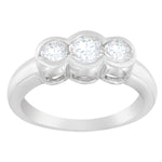14K White Gold 1ct TDW Bezel Set 3-stone Diamond Ring (G-H, SI2-I1)