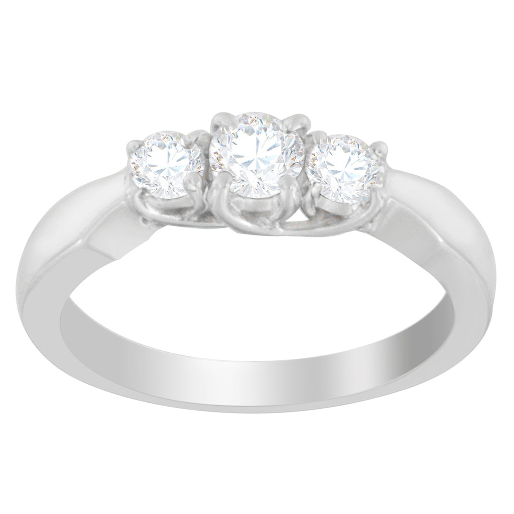 14K White Gold 1/2ct. TDW Three-Stone Diamond Ring (G-H, SI1-SI2)