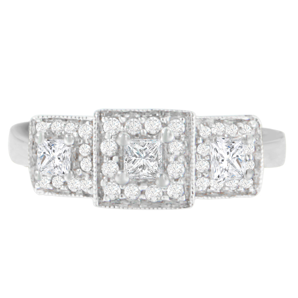14K White Gold 0.50 ct.TDW Round and Princess Cut Diamond Ring (H-I,SI2-I1)