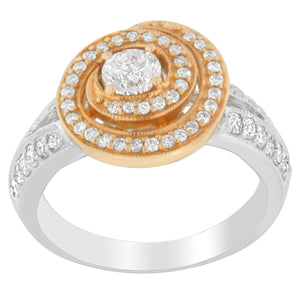 18K Two-Tone Gold 1ct. TDW Diamond Swirl Engagement Ring (H-I, SI2-I1)