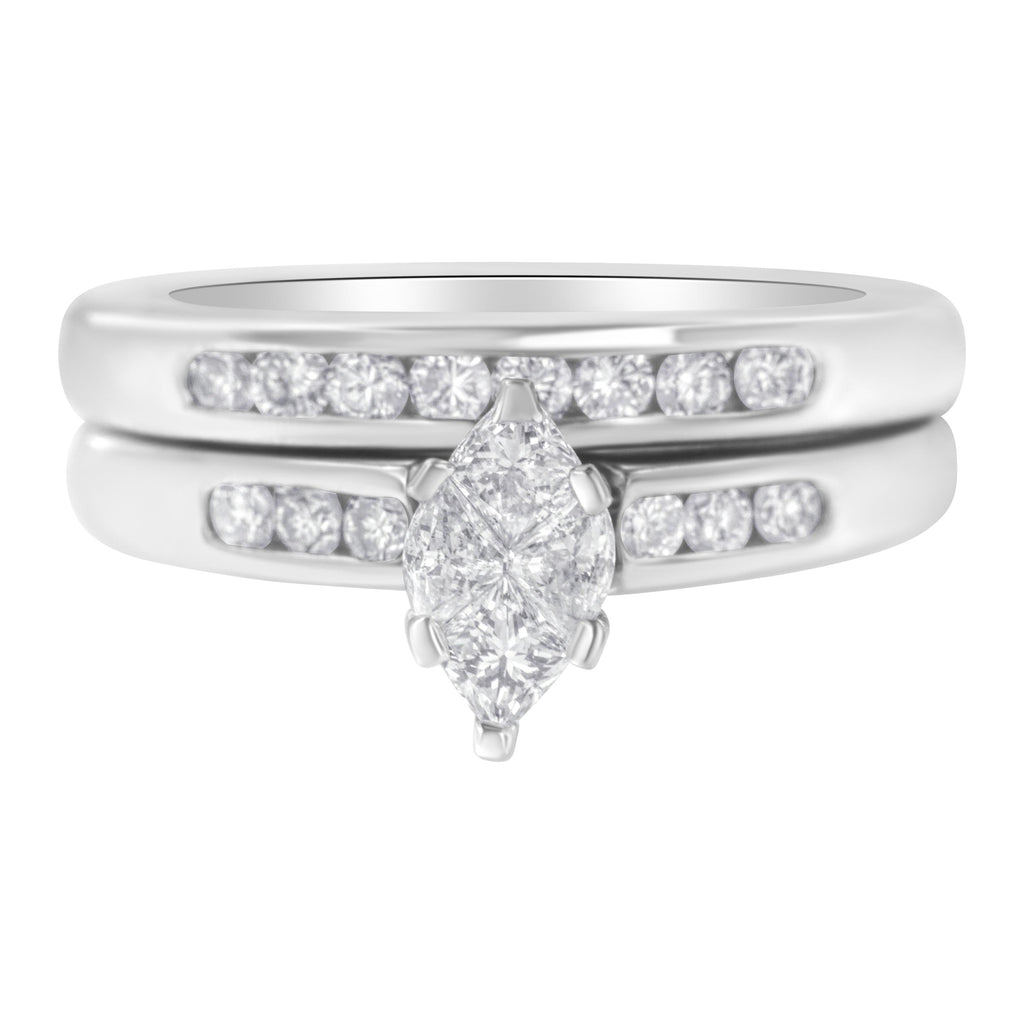 14K White Gold 1 1/4ct TDW Pie Cut Diamond Engagement Ring Set (H-I,SI1-SI2)