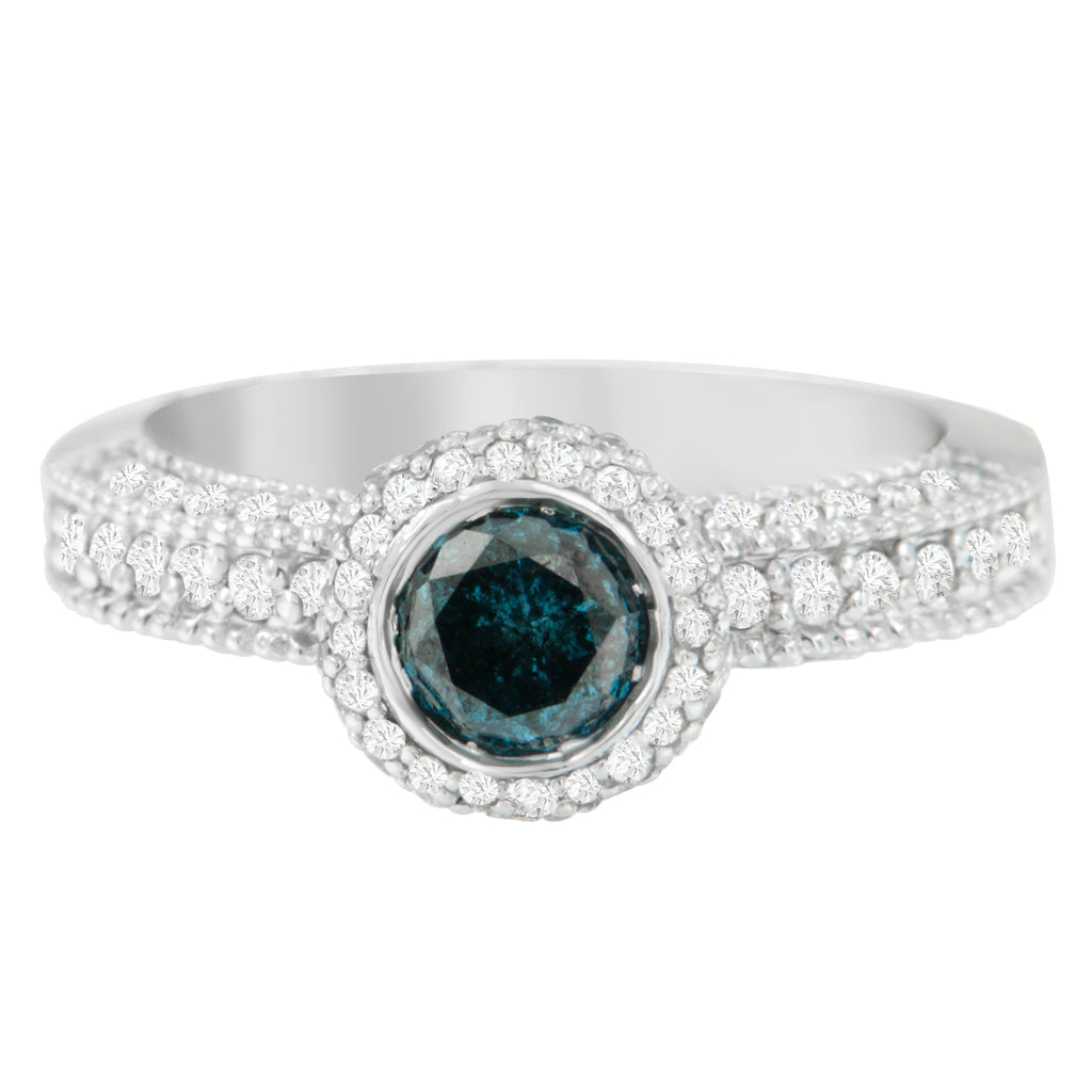 14K White Gold 1 1/2 ct. TDW Engagement Ring with Blue Diamond Center (H-I, I1-I2)
