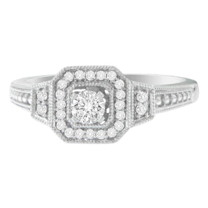 14K White Gold 1/3ct TDW Round Diamond Square Halo Engagement Ring (H-I,SI1-SI2)