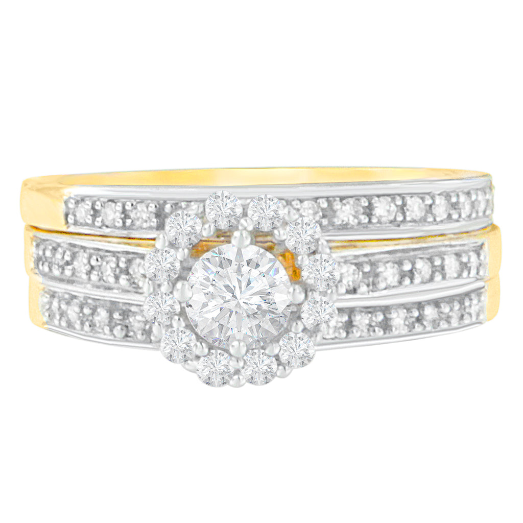 14K Yellow Gold 3/4 ct. TDW Round Brilliant Diamond Bridal Set (H-I, I1-I2)
