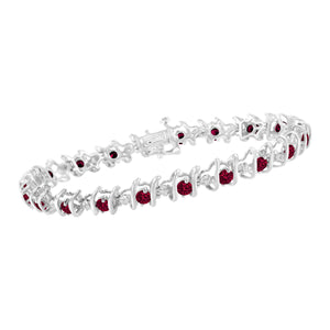 Sterling Silver Ruby/Sapphire and Diamond S-Link Tennis Bracelet (H-I, I1-I2)