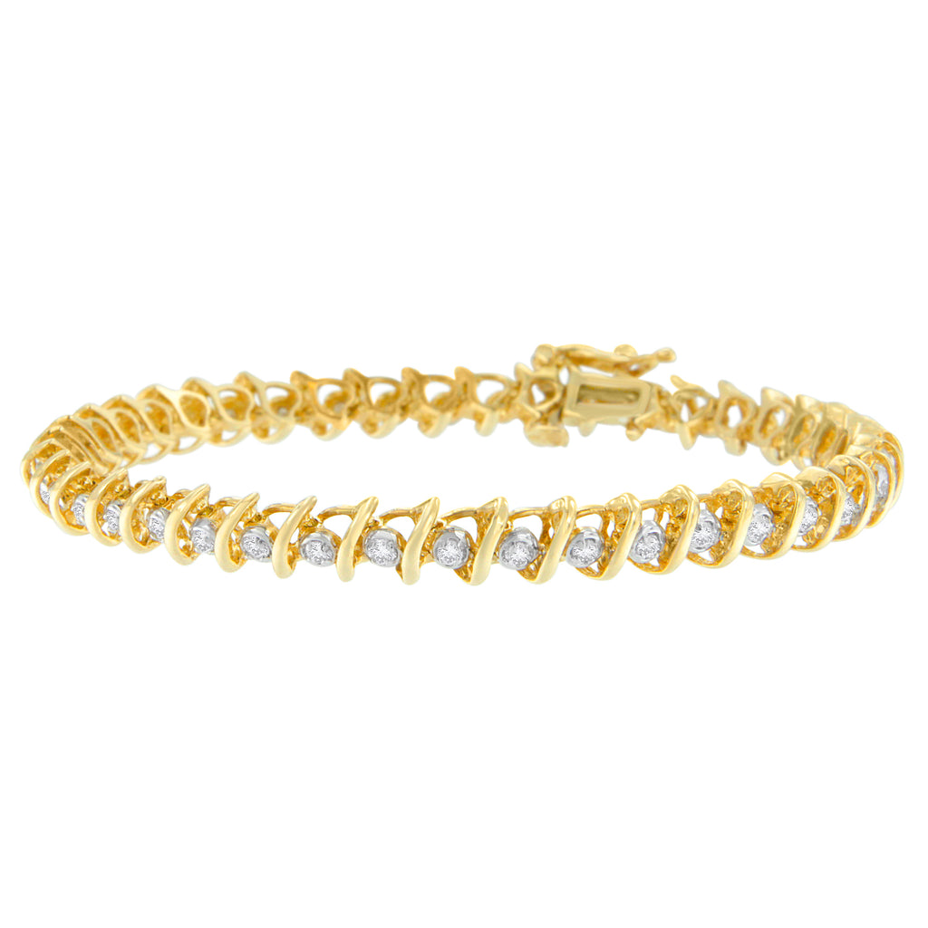 10K Yellow Gold 1ct TDW Round Cut Diamond 'S' Bracelet (I-J,I2-I3)