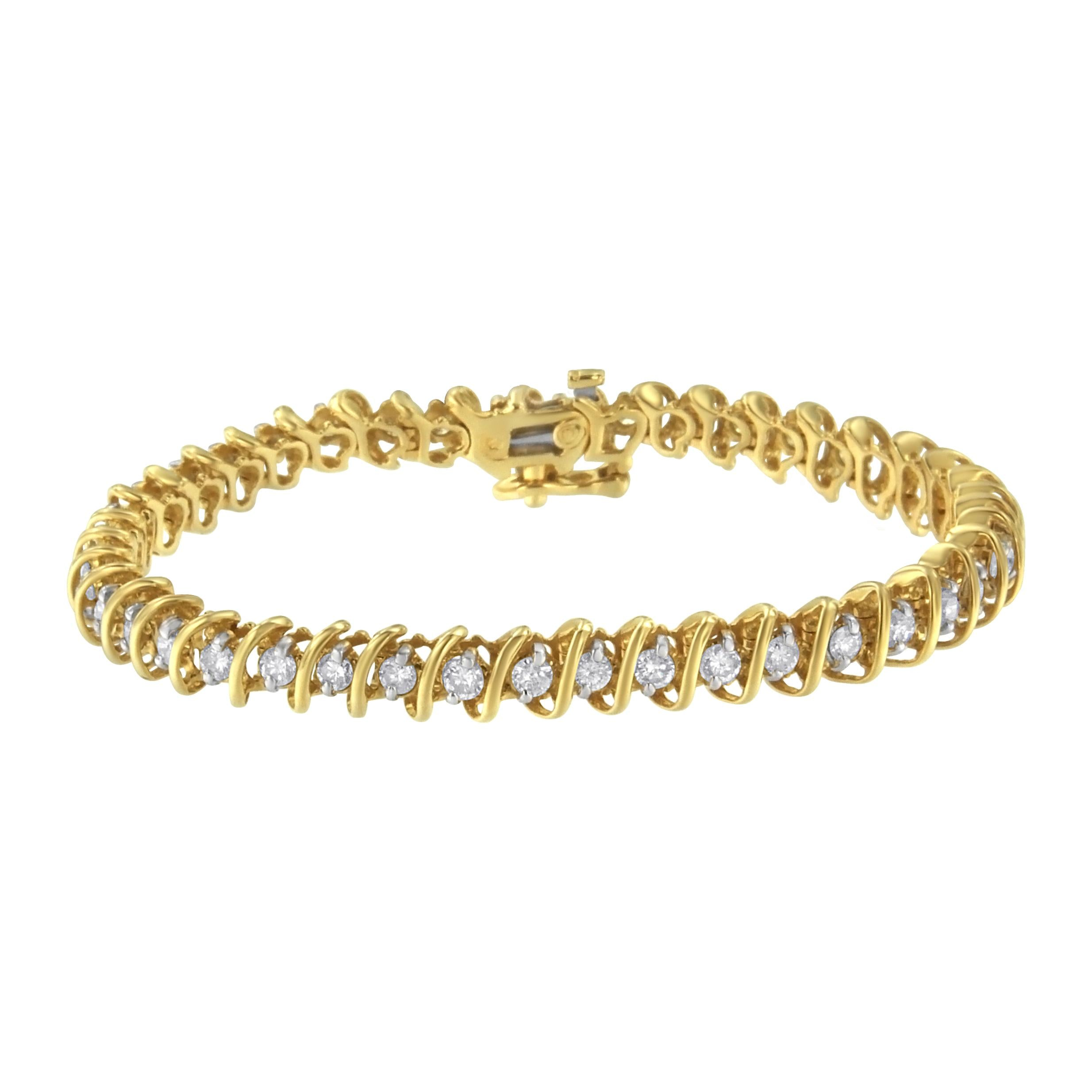 14K Yellow Gold 3ct TDW Diamond S-Link Tennis Bracelet (I-J,I1-I2)