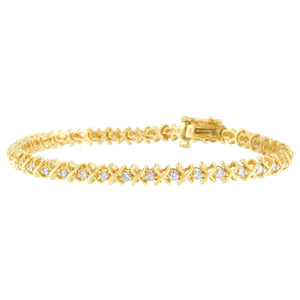 14K Yellow Gold 1ct TDW Round Cut Diamond X-Link Bracelet (H-I, I1-I2)