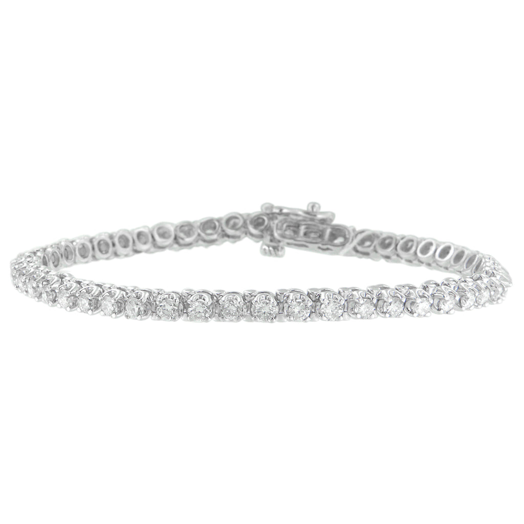 14K White Gold 3ct TDW Round Cut Diamond Tennis Bracelet (G-H, I1-I2)