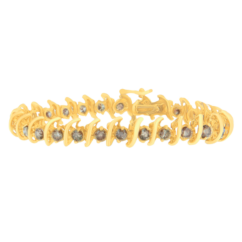 14K Yellow Gold 6ct TDW Champagne Diamond 'S' Bracelet (K-L, I1-I2)