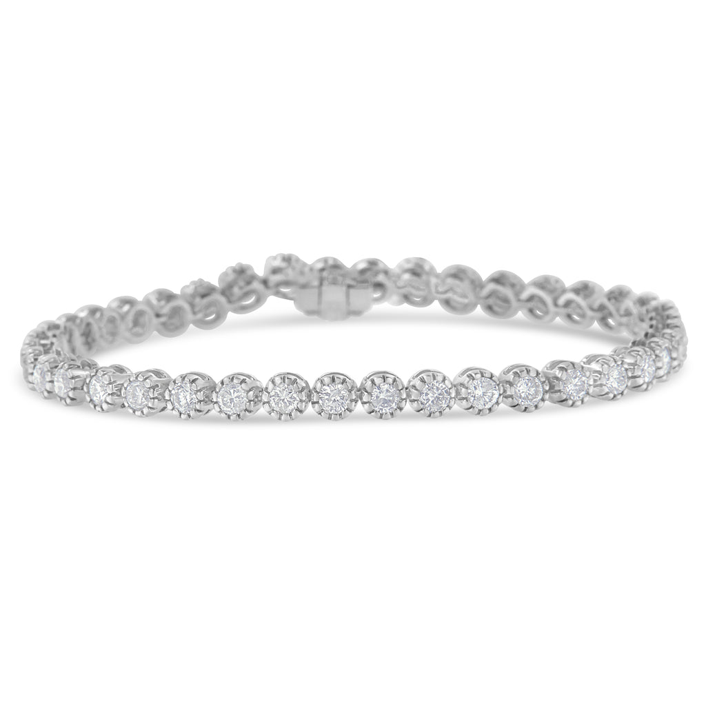 14K White Gold 4ct TDW Round-Framed Diamond Tennis Bracelet (H-I,I1-I2)
