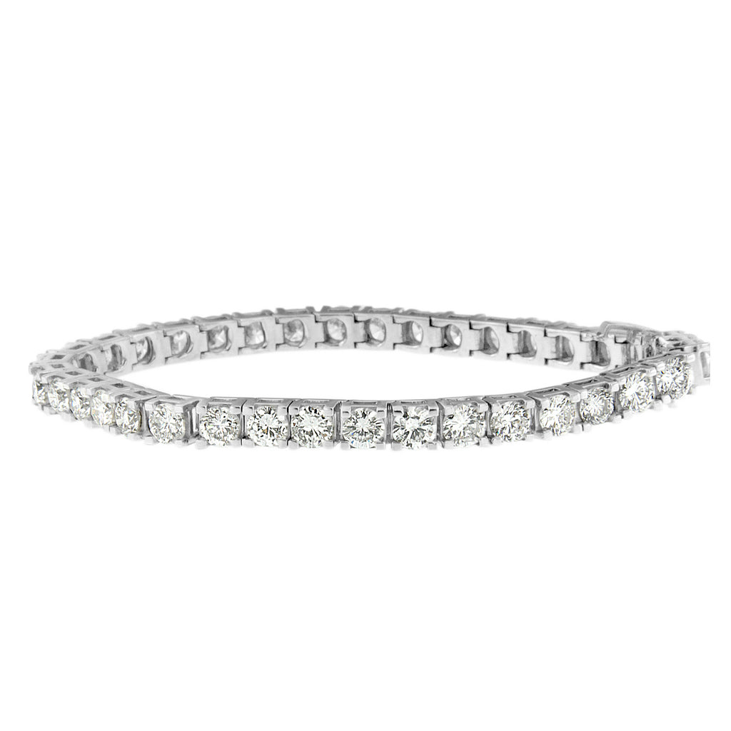 14K White Gold 11 3-8ct TDW Round-cut Diamond Bracelet (H-I,SI2-I1)