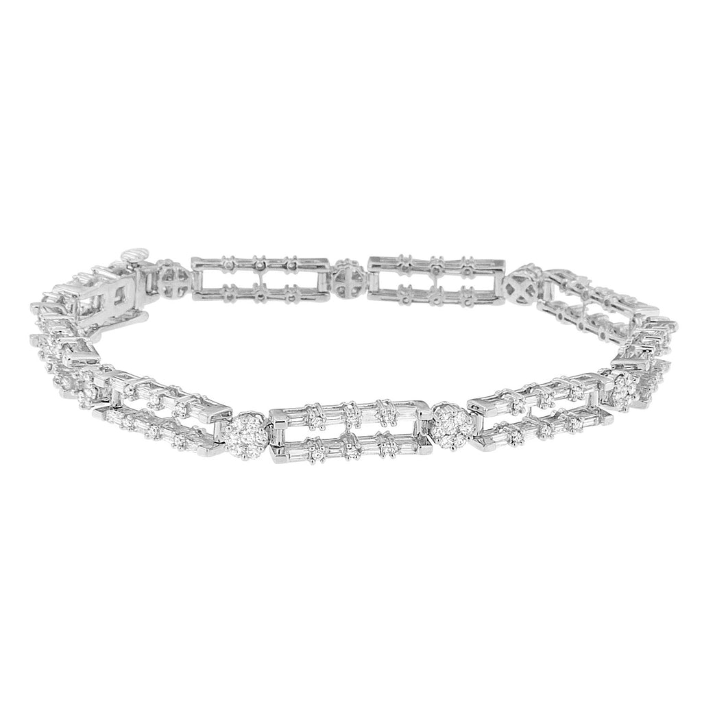 14K White Gold 2 3/4ct. TDW Round and Baguette Diamond Bracelet (H-I,SI1-SI2)