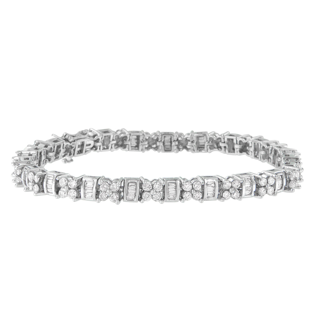 14K White Gold 4 ct. TDW Round and Baguette Cut Floral Link Diamond Bracelet (H-I,SI2-I1)