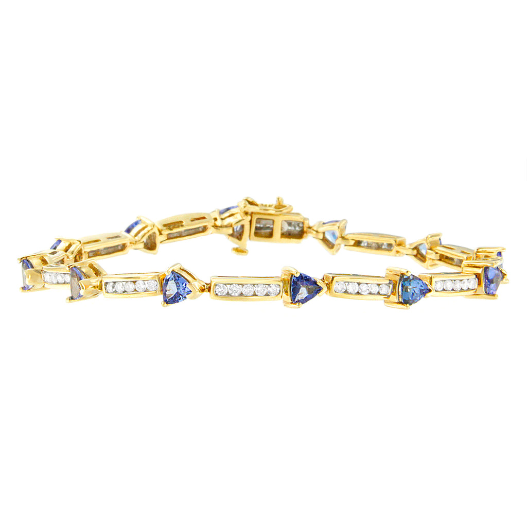 14K Yellow Gold 1 1/8ct TDW Diamond and Tanzanite Tennis Bracelet (H-I,I1-I2)
