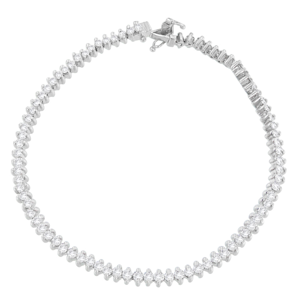 18K White Gold 3ct. TDW Diamond Link Tennis Bracelet (H-I, I2-I3)