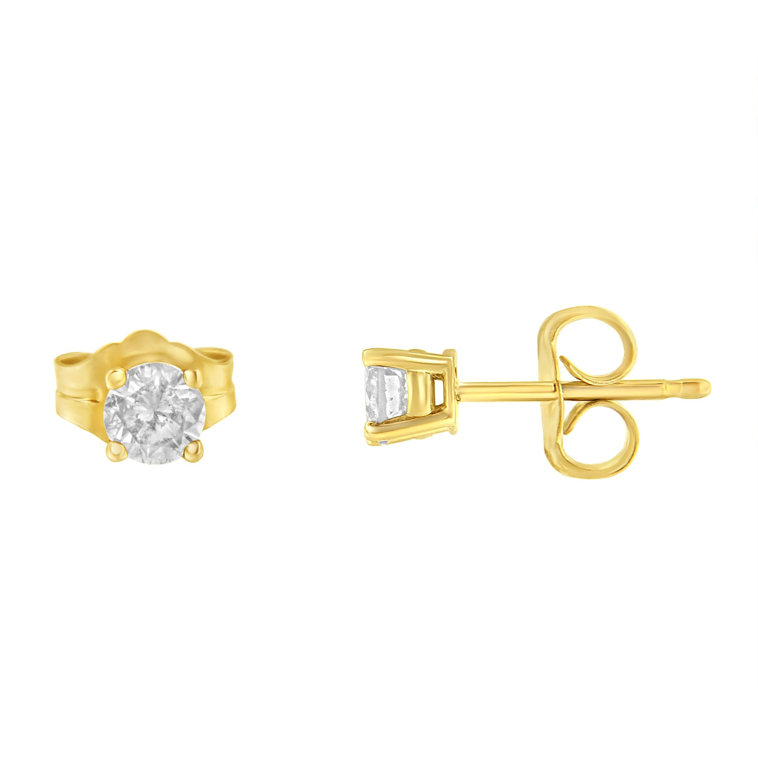 Yellow Gold-Plated Sterling Silver 1/2 ct TDW Diamond Stud Earrings (I-J,I3)