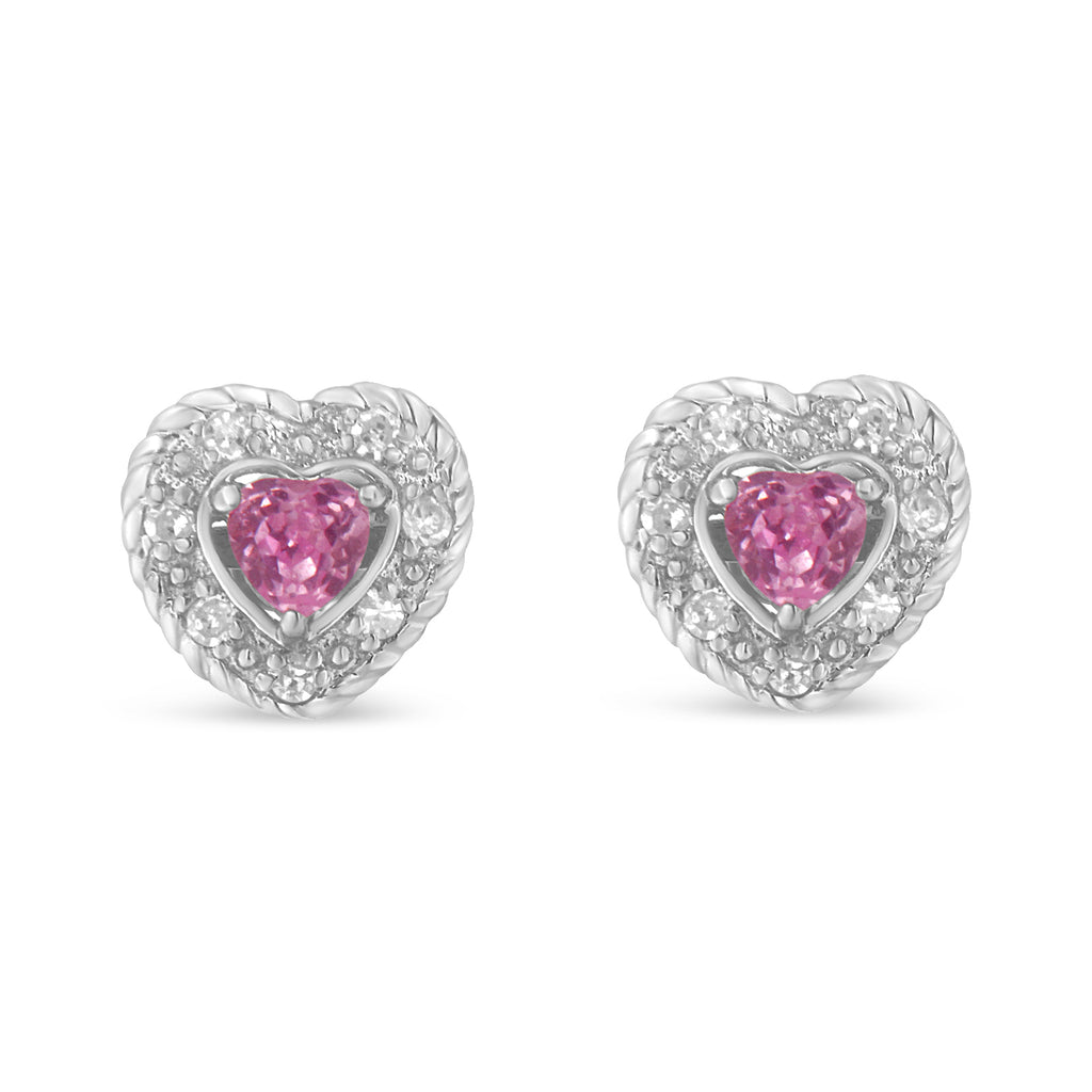 Sterling Silver 3/8ct TDW Pink Sapphire and Diamond Heart Stud Earrings (I-J,I2-I3)