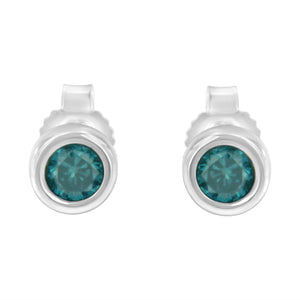 Sterling Silver 1/5ct TDW Blue Diamond Bezel-Set Stud Earrings (Blue,I2-I3)