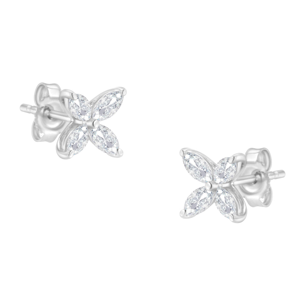 14K Gold 1/2ct. TDW Marquise Diamond Stud Earrings (H-I, SI1-SI2)