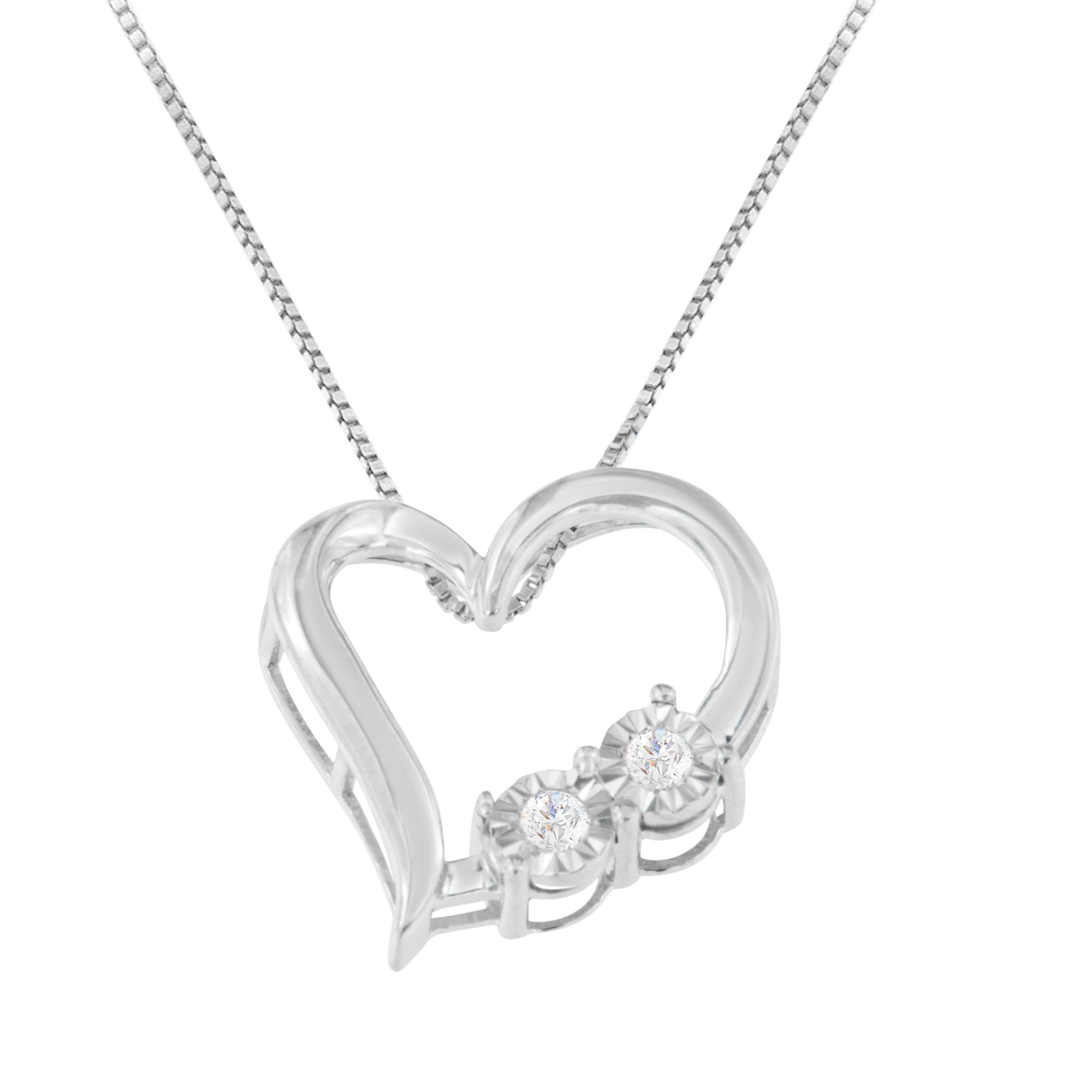 Sterling Silver 1/10ct TDW Diamond Heart Necklace (I-J, I3)