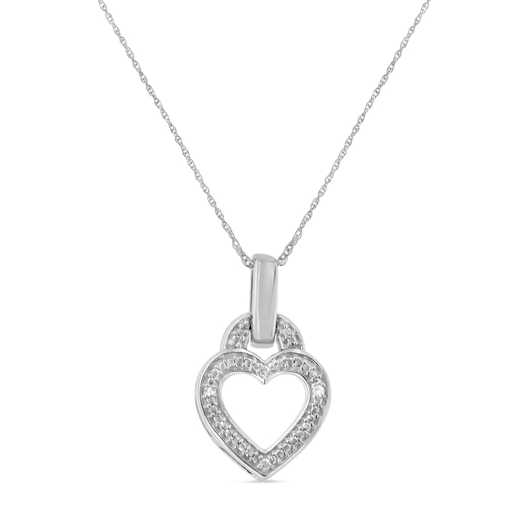 Sterling Silver 1/25ct TDW Round Cut Diamond Heart Necklace (H-I,I2)