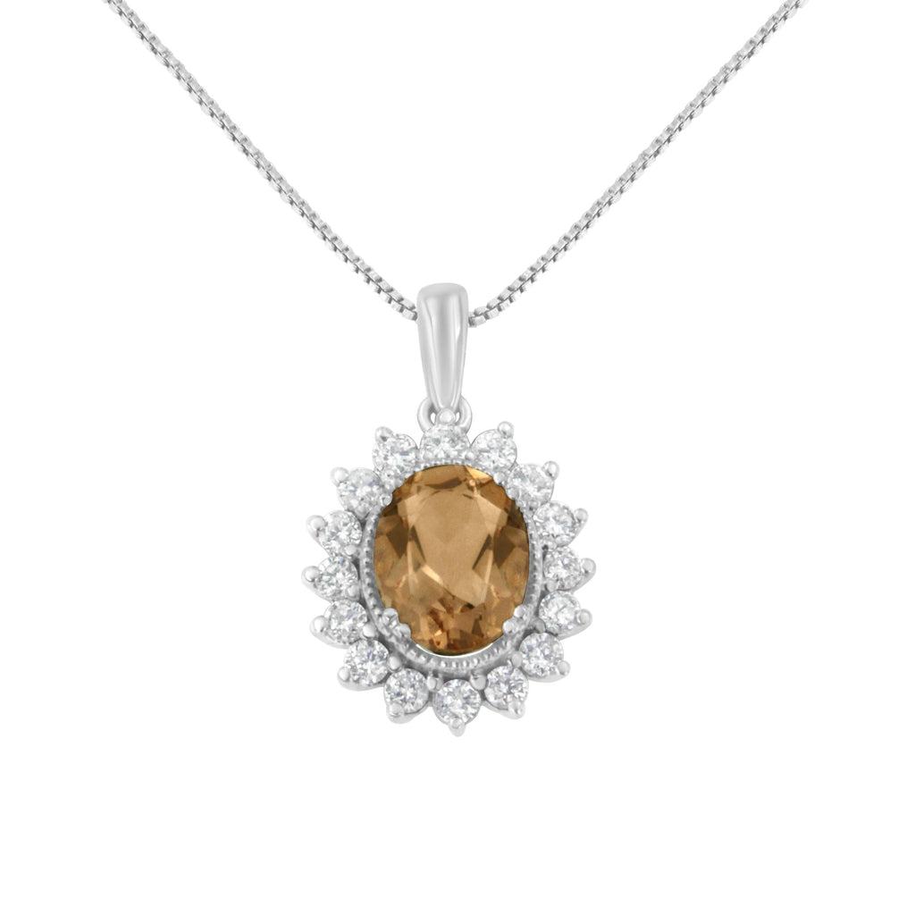 10K White Gold 1/2ct Diamond and Morganite Oval Necklace (H-I,I1-I2)