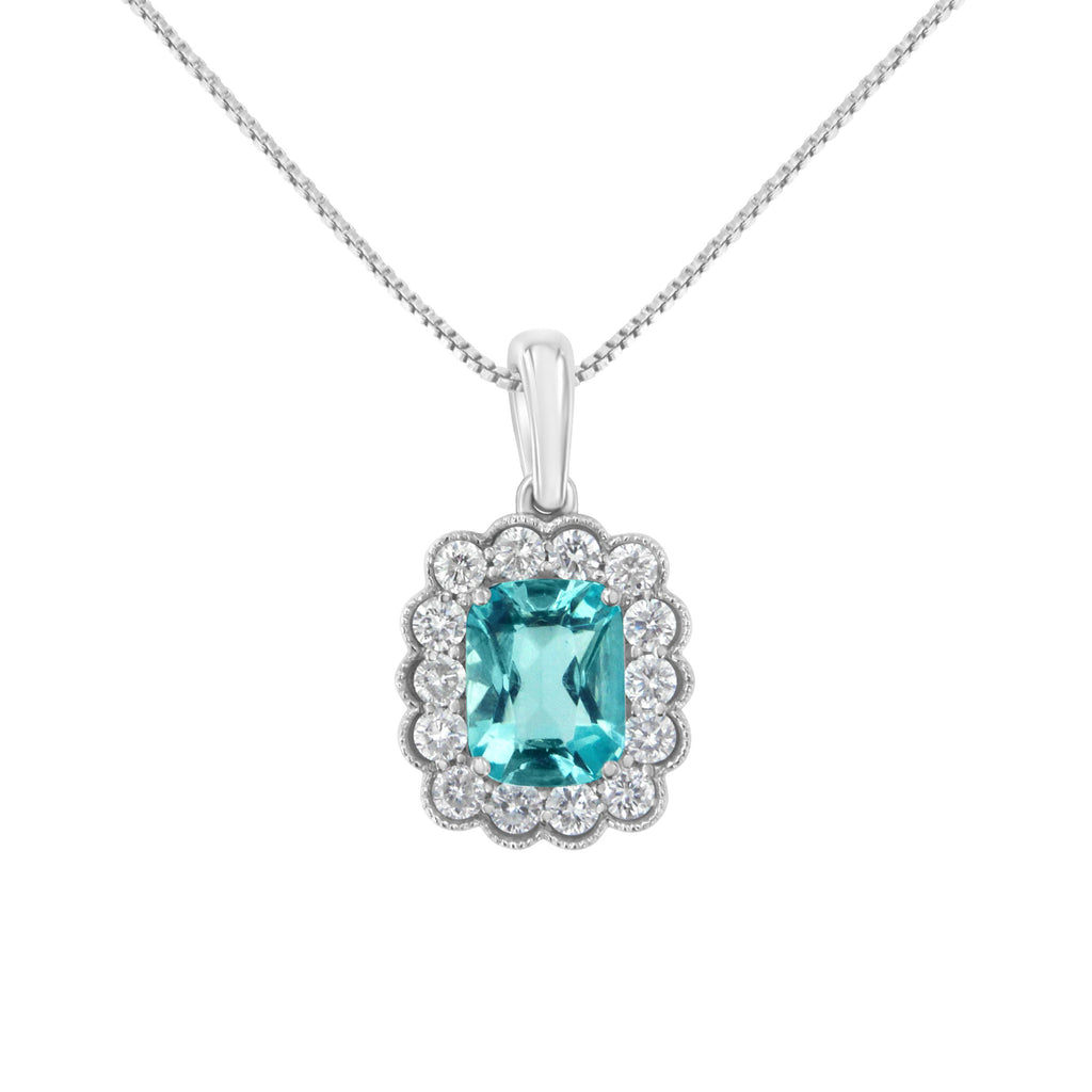 10K White Gold Diamond and Aquamarine Necklace (H-I,I1-I2)