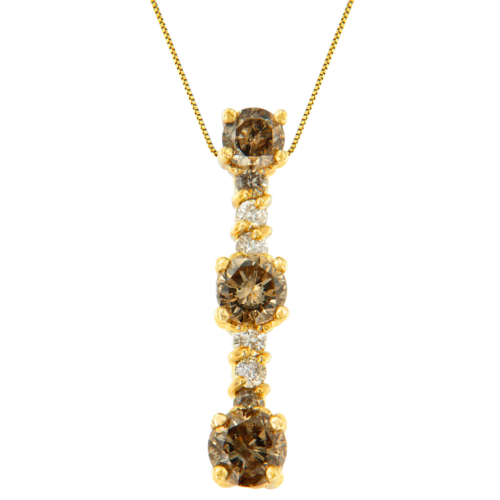 14k Yellow Gold 1ct TDW White and Champagne Diamond Drop Necklace (I-J, I1-I2)