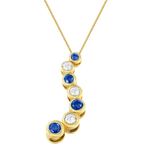 14K Yellow Gold 1ct. TDW White and Blue Diamond Necklace (H-I,I1-I2)
