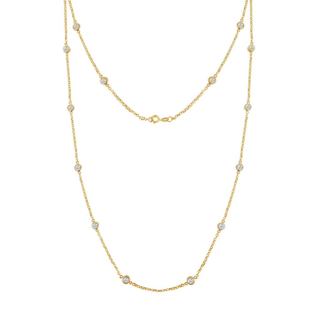 Gold-Plated Sterling Silver 1ct. TDW Diamond Station Necklace (J-K, I1-I2)