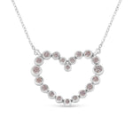14K White Gold 1/4ct TDW Natural Pink Diamond Heart Necklace (Pink, SI2-I1)