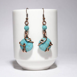 Handmade Wire Wrapped Turquoise Earrings - Babazen