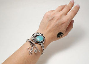 Handcrafted turquoise gemstone cuff bracelet, wire wrapped bracelet - Babazen