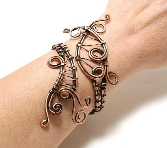 Handcrafted copper cuff bracelet, copper wire wrapped bracelet - Babazen