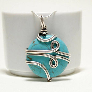 Handcrafted Turquoise Pendant Necklace, Wire wrapped necklace - Babazen