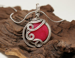 Handmade Wire Wrap Ruby Pendant Necklace - Babazen