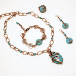 Handmade wire wrap Turquoise jewelry set - Babazen