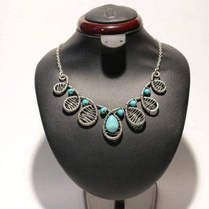 Handmade Wire Wrap Turquoise Statement Necklace - Babazen