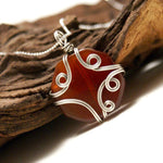 Handmade Brown Agate Stone Pendant Necklace - Babazen