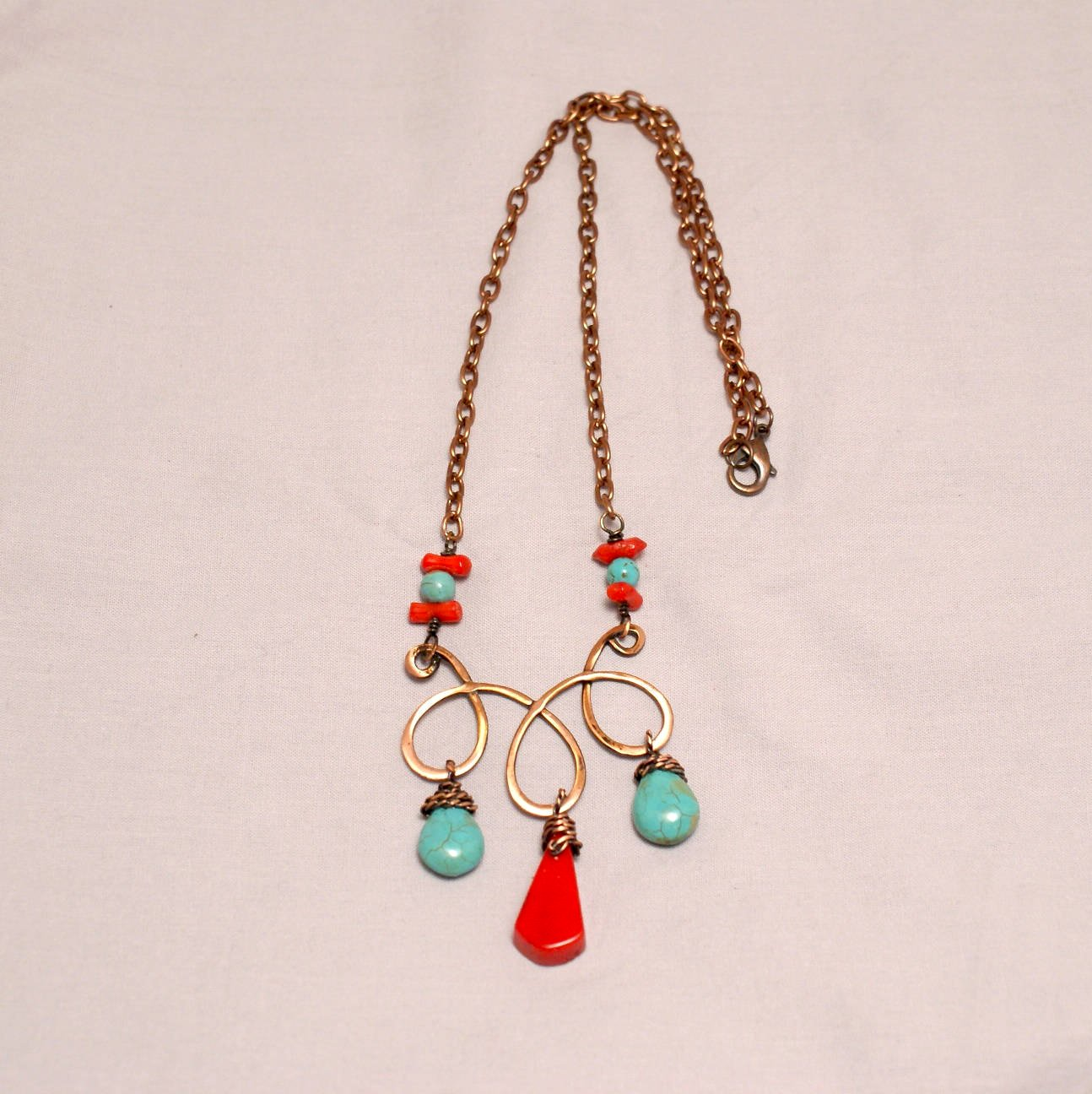 Handmade Turquoise and Red Statement Necklace - Babazen