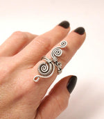 Handmade silver plated wire wrapped adjustable ring - Babazen