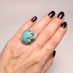 Handmade Turquoise Gemstone Adjustable Boho Ring - Babazen