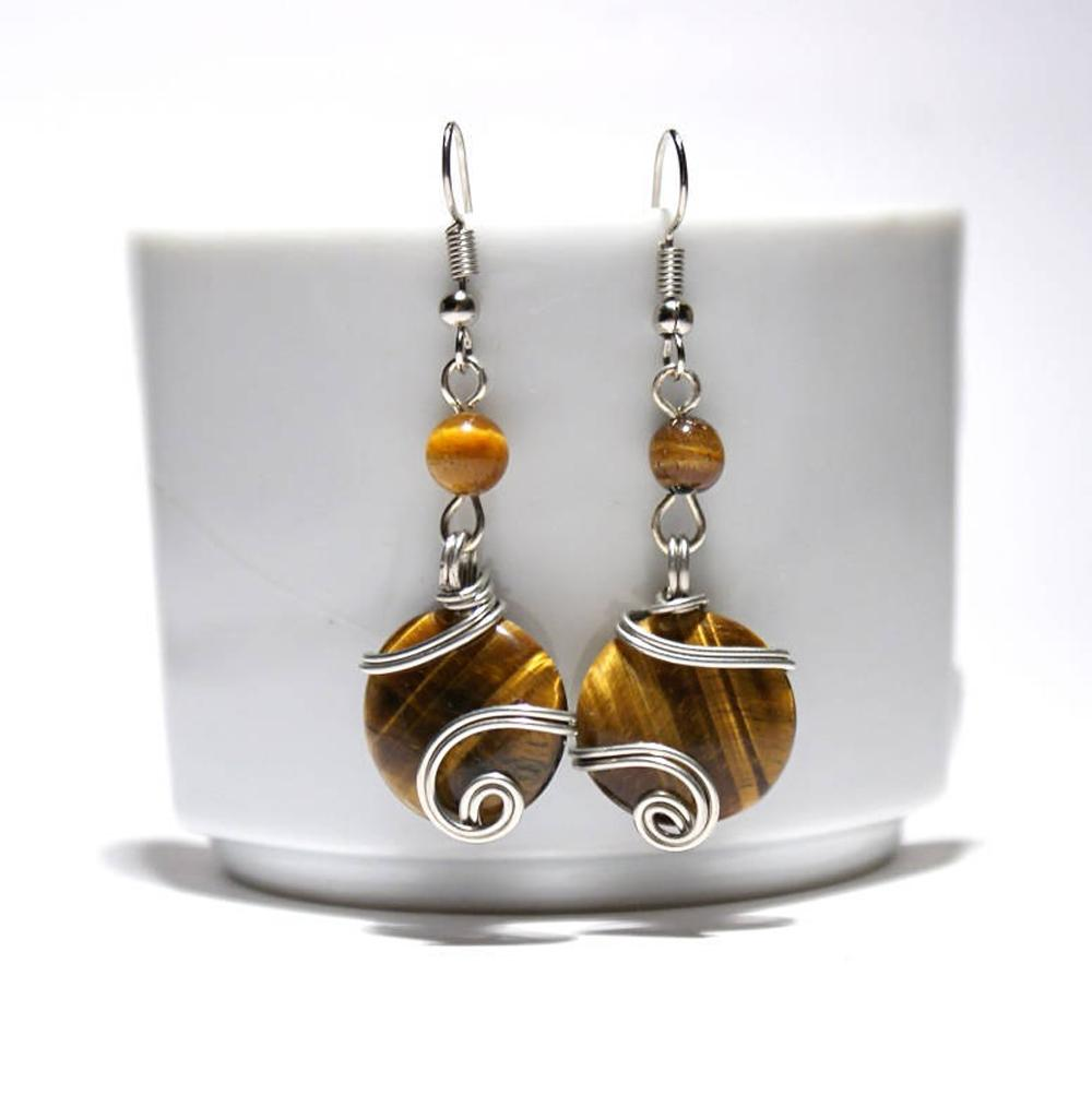 Handmade Wire Wrapped Tiger's Eye Dangle Earrings - Babazen