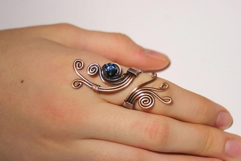 Handmade navy blue crystal stone wire wrap copper ring - Babazen