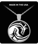 Yin and Yang Dragons Round Pendant Necklace - Gold / Silver